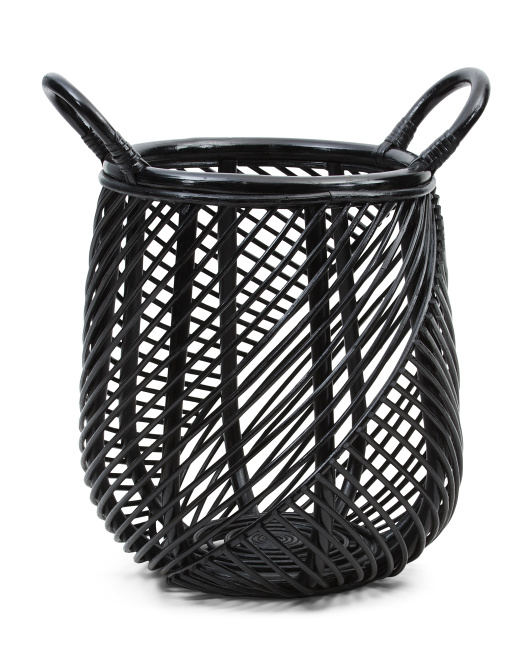 HANDCRAFTED IN INDONESIA Small Rattan Belly Basket $29.99
