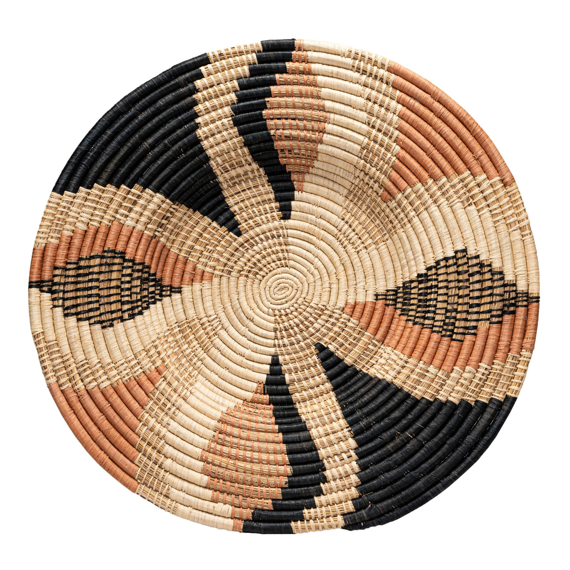 All Across Africa Coral And Natural Woven Disc Wall Decor $79.99
