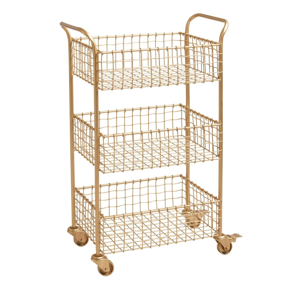 Gold Wire Basket 3 Tier Antonia Rolling Cart $99.99 https://fave.co/3gVvepn