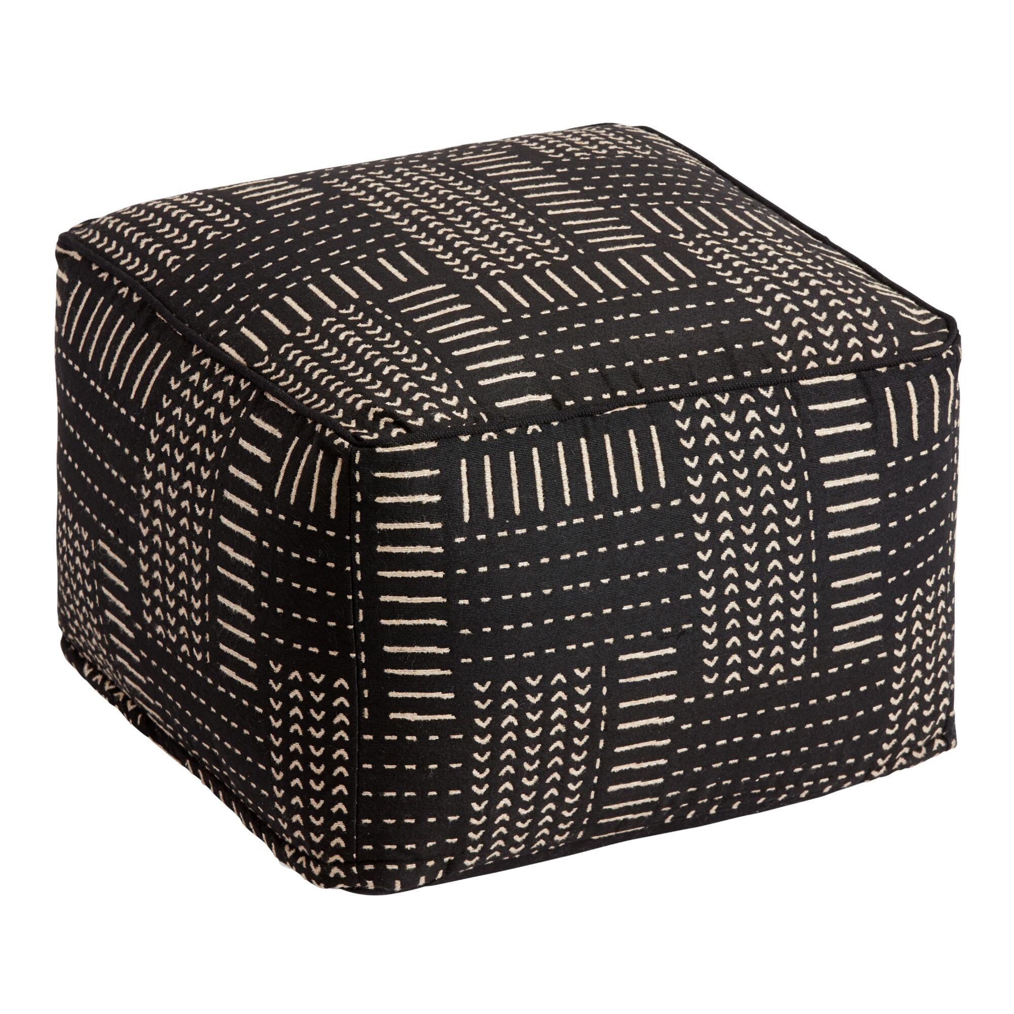 Black And Ivory Zanzibar Indoor Outdoor Pouf $88.79
