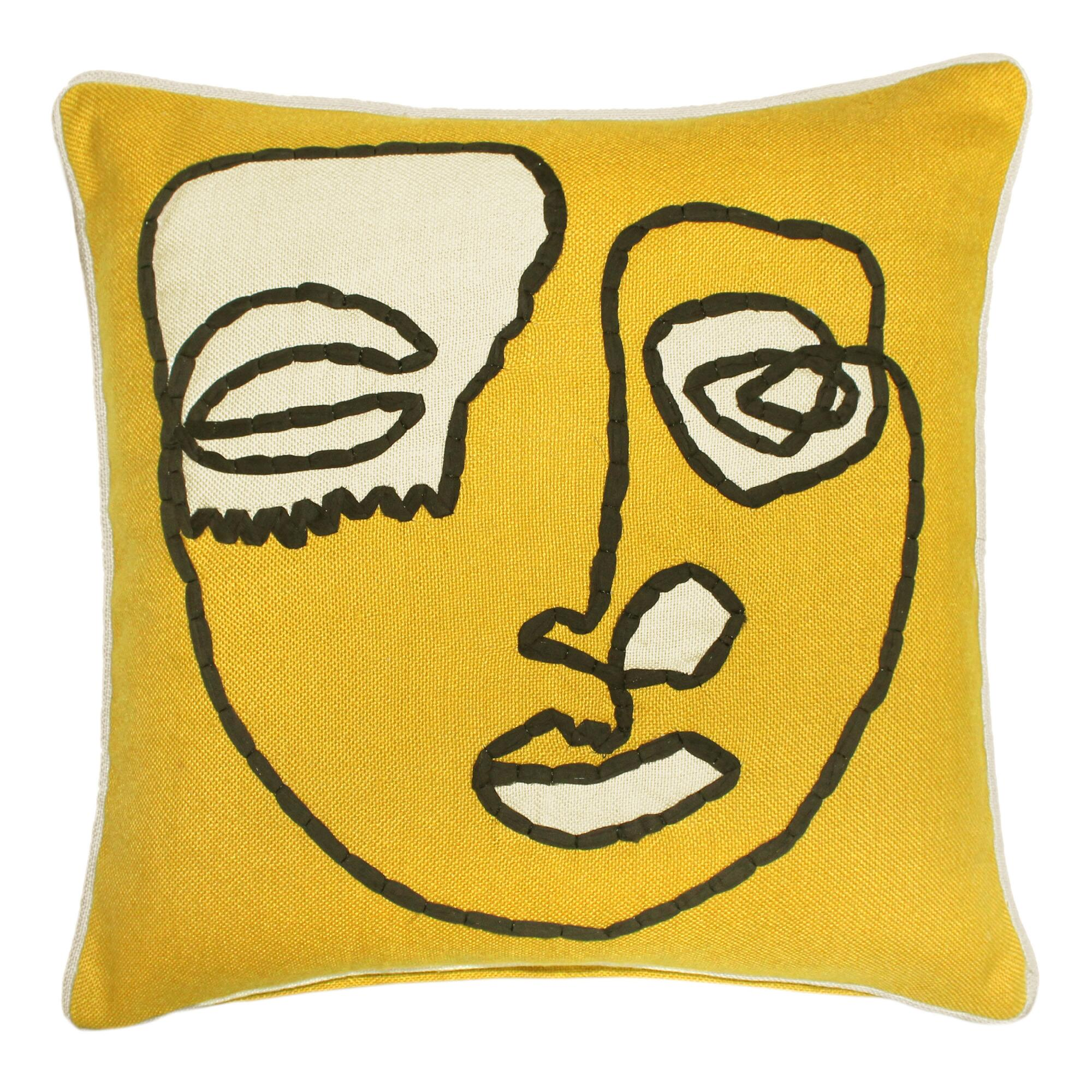 Gold Contour Face Indoor Outdoor Throw Pillow $29.99