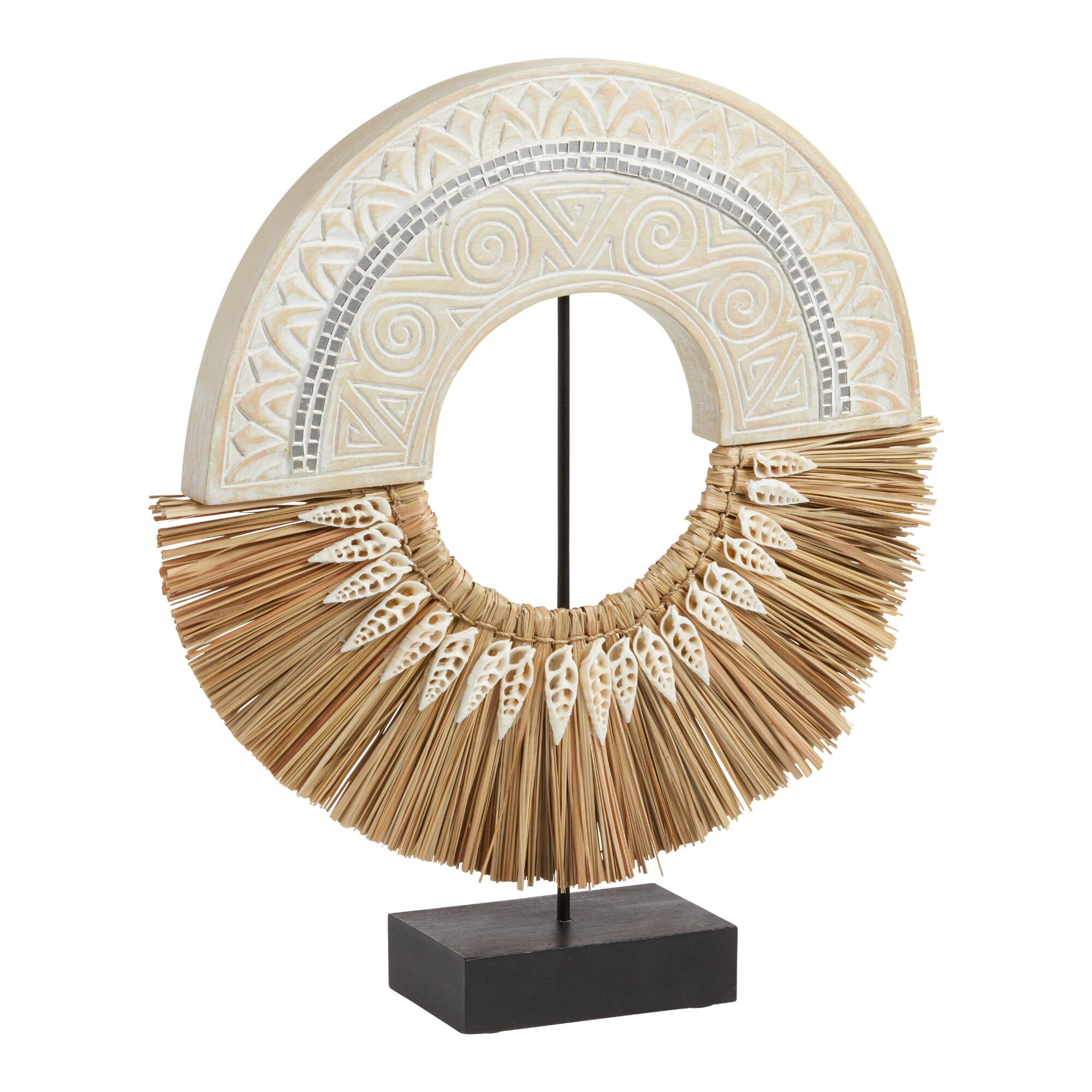 Carved Wood And Grass Ring Decor On Stand $69.99