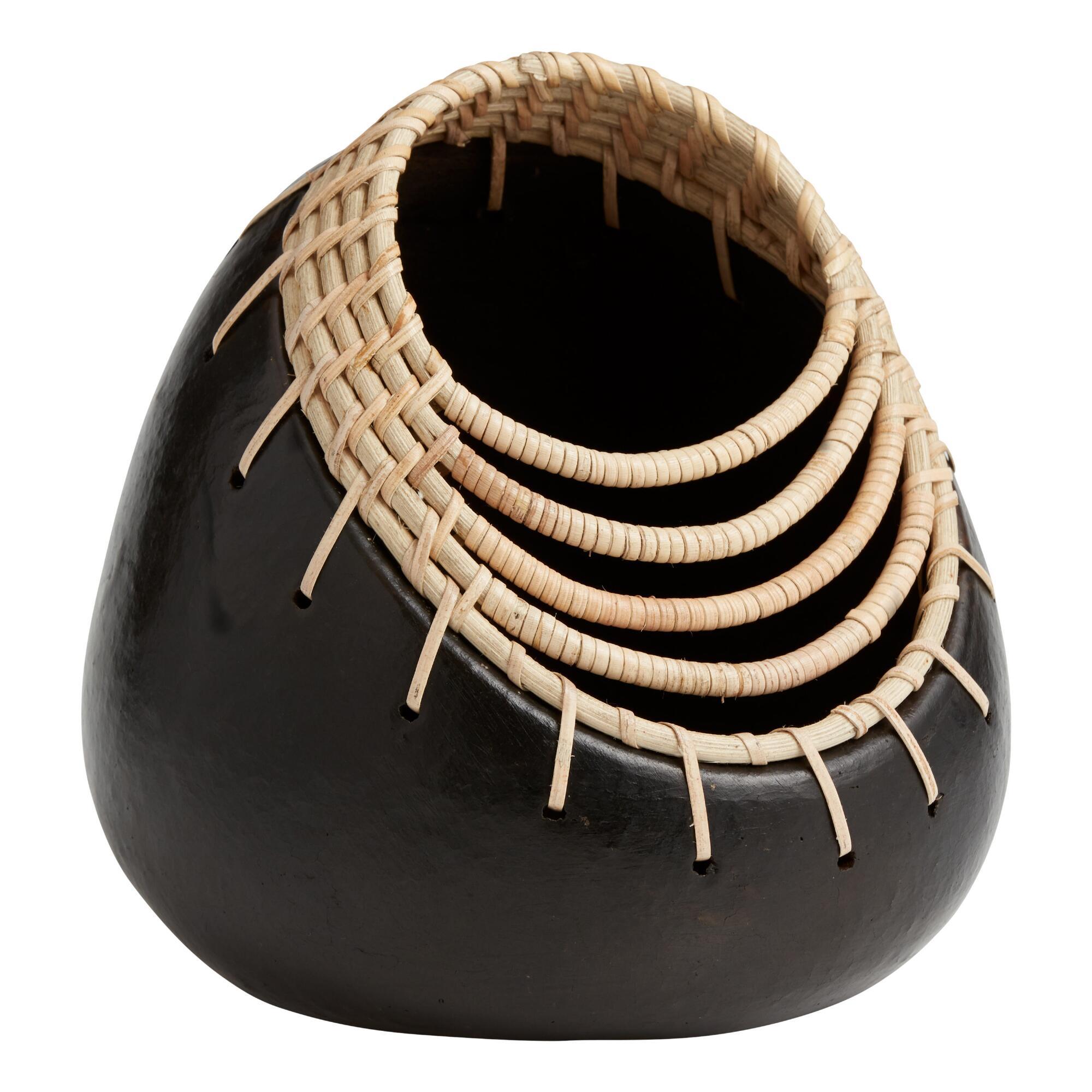 Round Black Terracotta And Rattan Vase $24.99