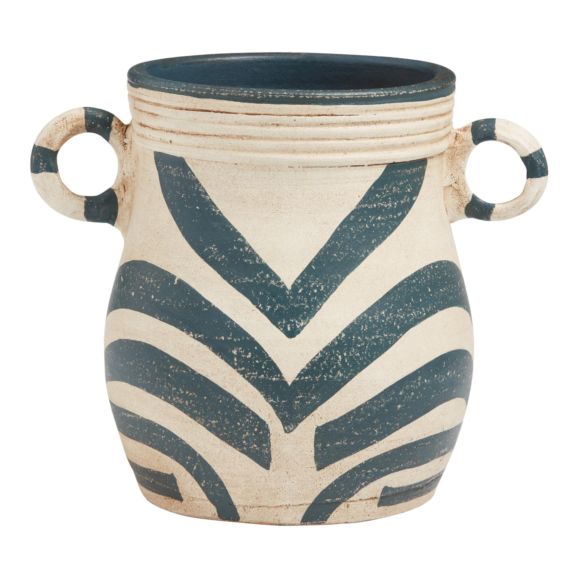 Blue And Cream Terracotta Pot With Handles $24.99