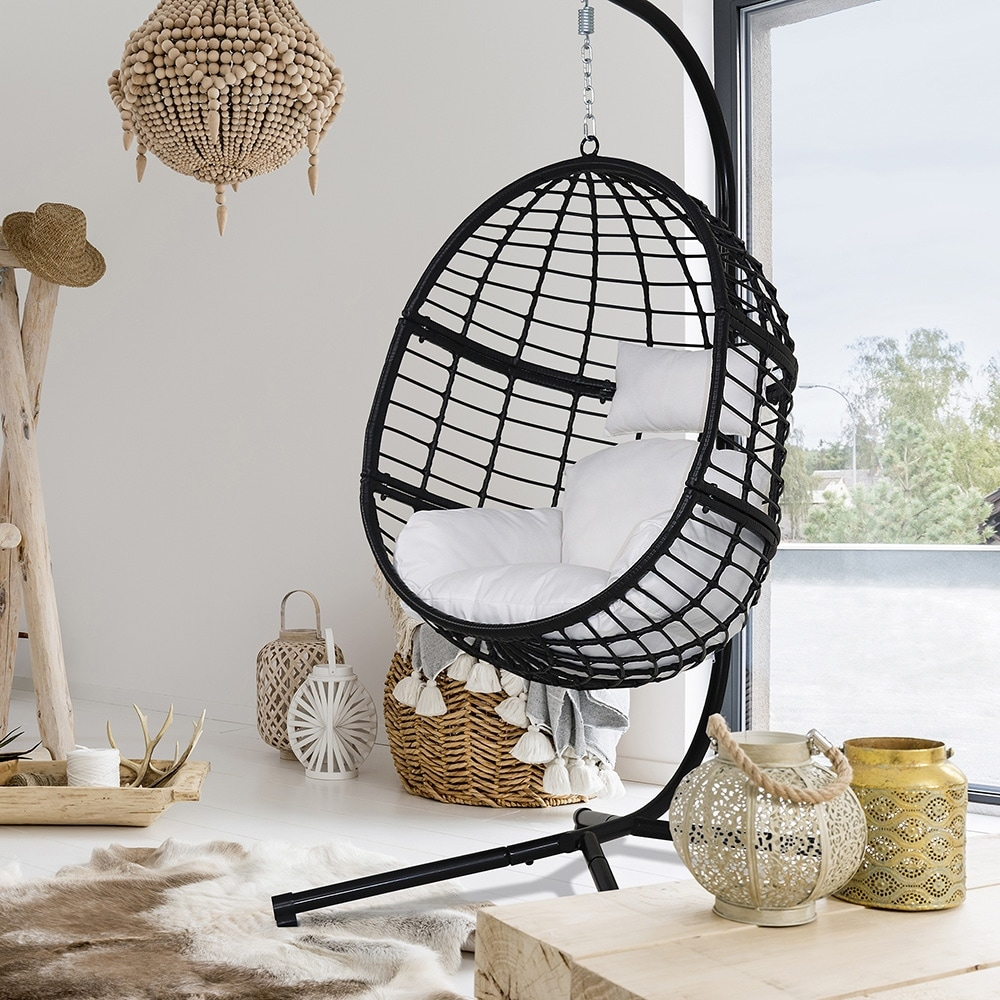 Agats Outdoor Wicker Basket Swing Chair with Cushions by Havenside Home $481.49