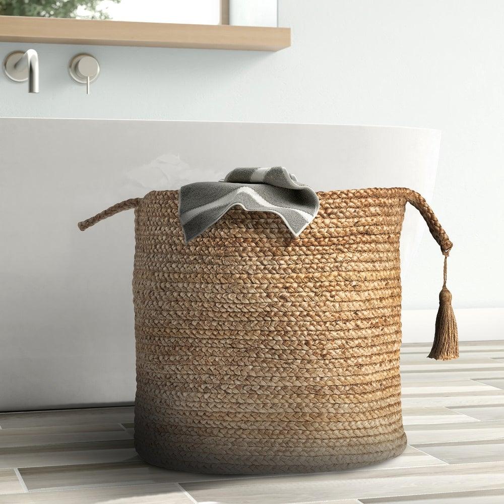 "LR Home Montego Solid Natural Jute Decorative Storage Basket (19 in.) - 19\"" x 19\"" x 19\"" $43.77"