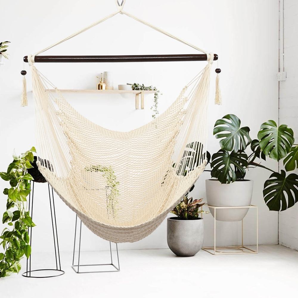 Outdoor Large Hammock Chair Swing Seat Hanging Chair with Tassels $128.49