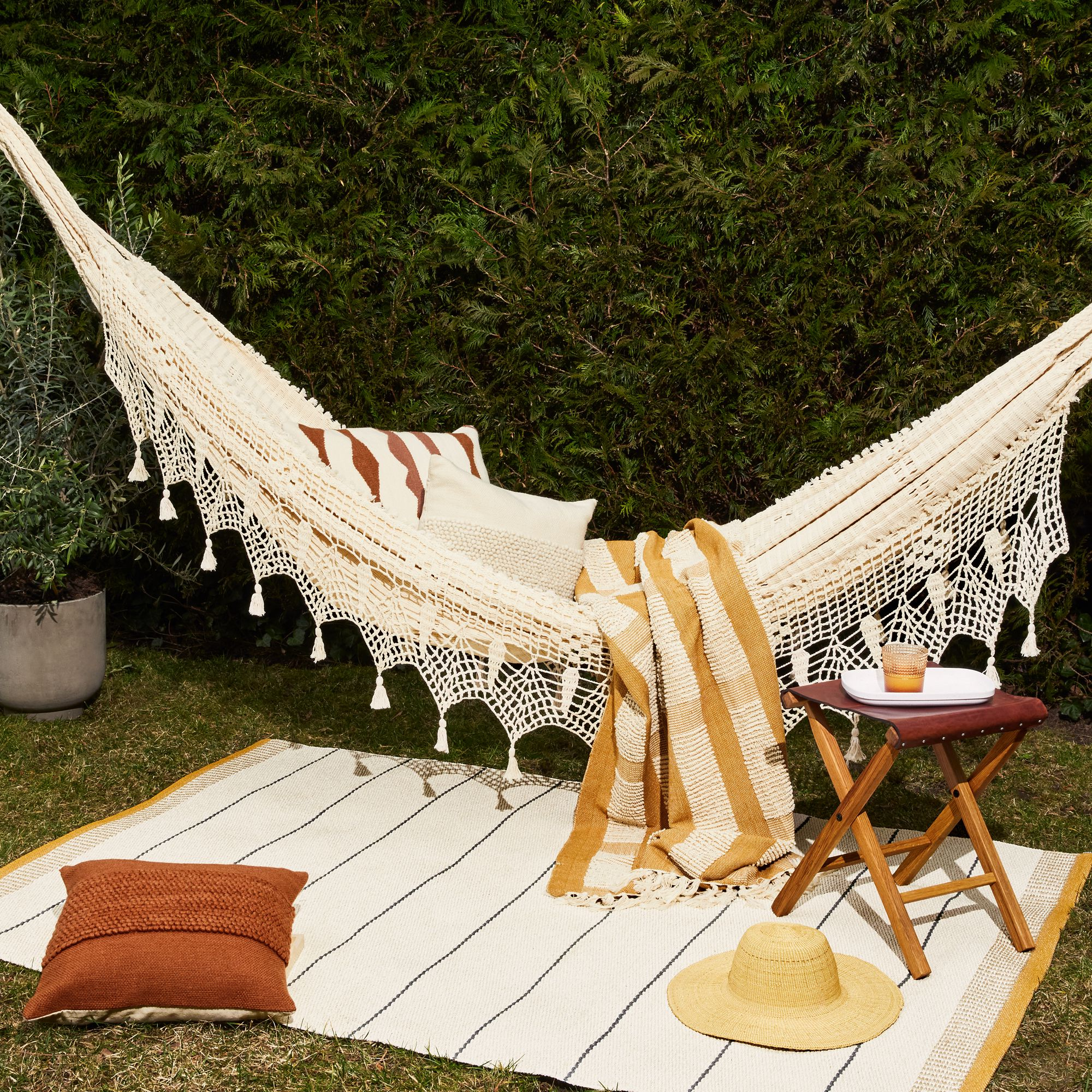 Under The Bough Handmade Natural Cotton Hammock with Fringe $180–$270