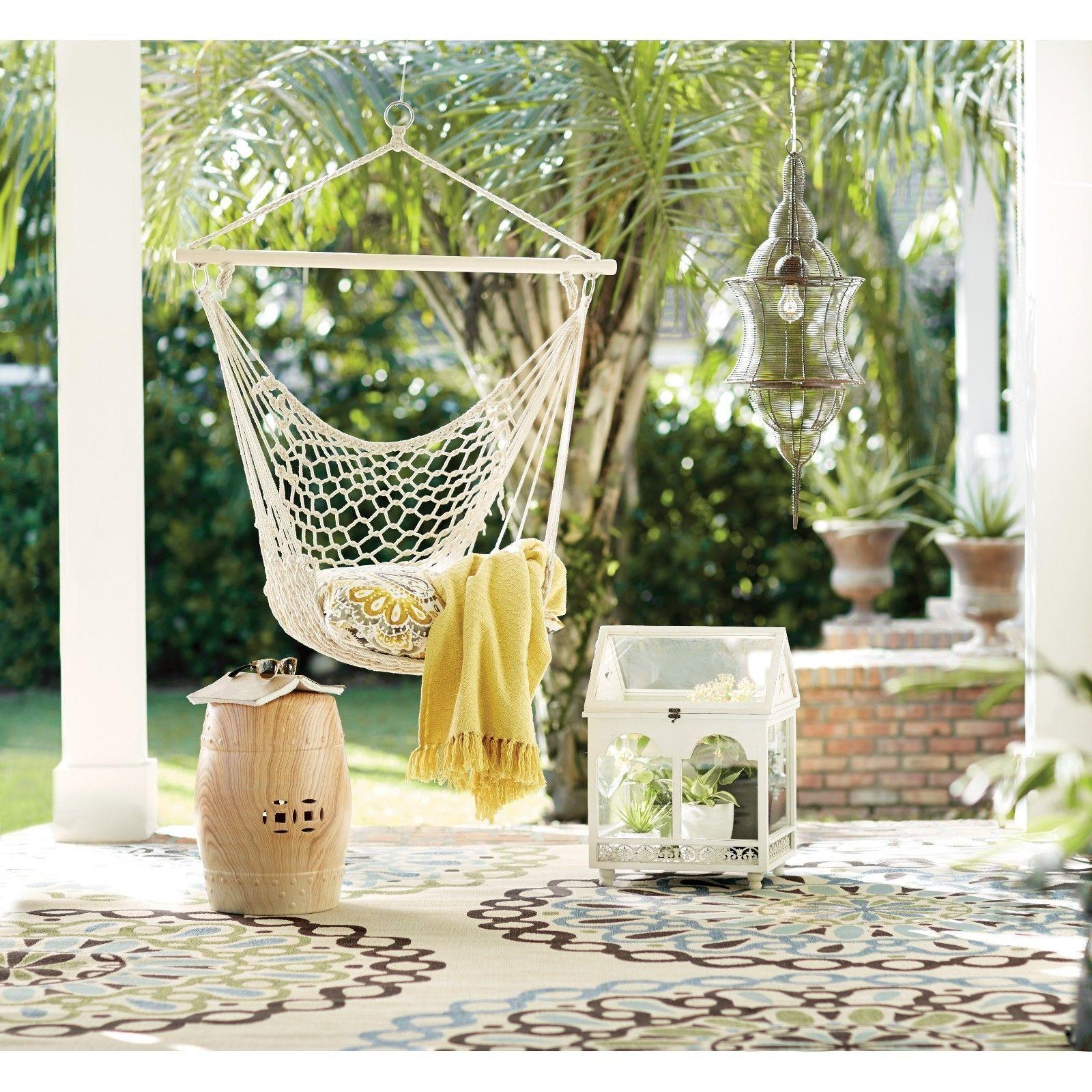 Outdoor Hanging Swing Cotton Hammock Chair $26.39