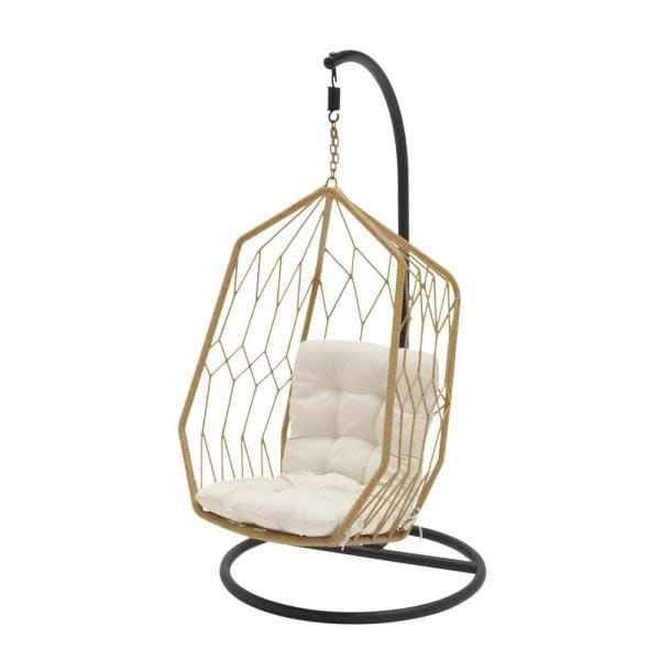 Tan Wicker Diamond Shaped Outdoor Patio Egg Lounge Chair Swing with Chalk White Cushions $499.00