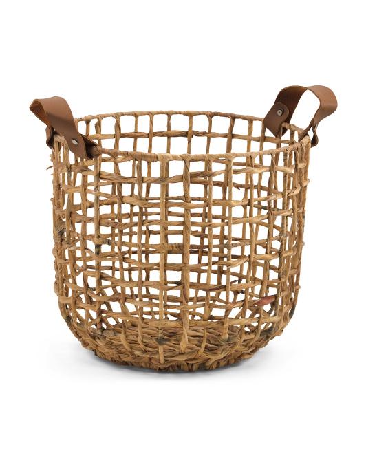 VIET05 Medium Opened Twist Weave Basket With Leather Handles $16.99
