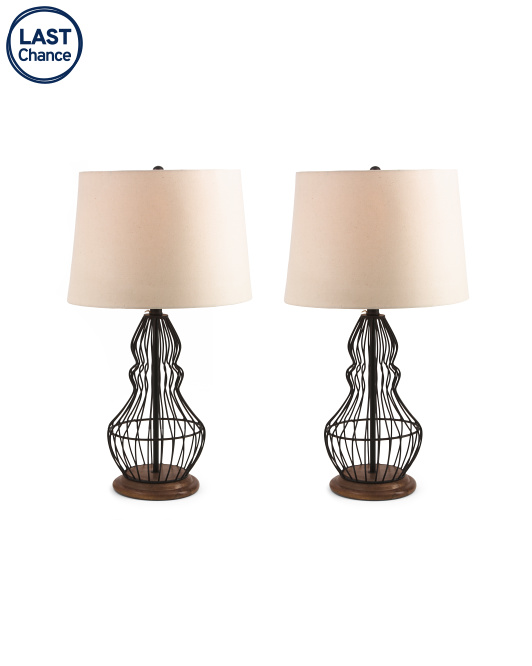 HANDCRAFTED IN INDIA Set Of 2 Metal Table Lamps $99.99
