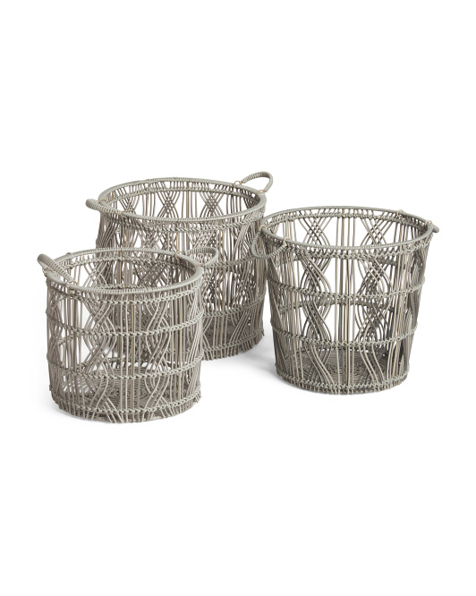 HANDCRAFTED IN VIETNAM Round Basket With Handles Collection $19.99 — $34.99