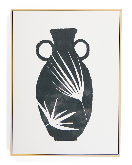 MIDDLE OF NOWHERE 18x24 Black Patterned Vase Canvas Wall Art $29.99