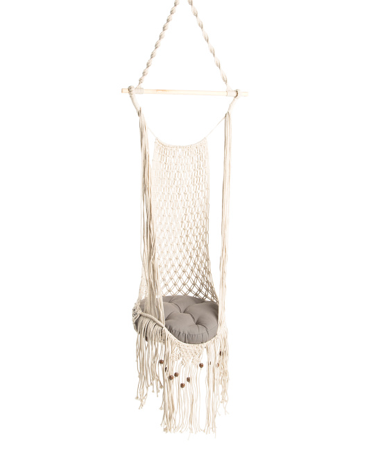 HANDCRAFTED IN INDIA Macrame Round Cat Hammock $39.99