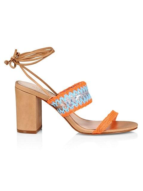 Schutz Karla Ankle-Tie Crochet Sandals $118