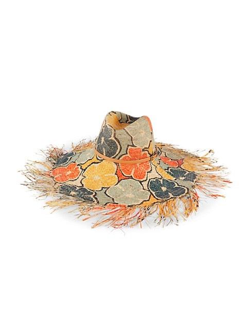 Raffaello Bettini Printed Flower Mixed Crochet Straw Gardener Hat $255