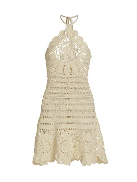 Oscar de la Renta Crochet Sleeveless Halter Dress $2,590