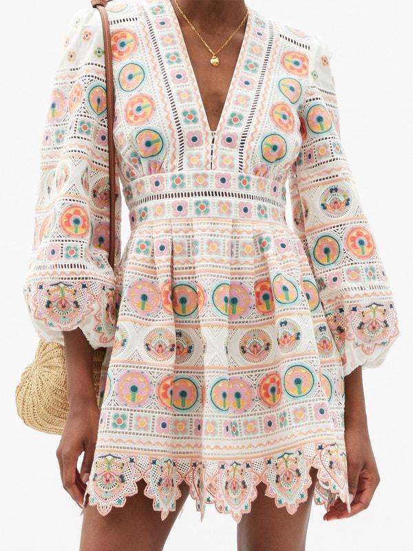 ZIMMERMANN Brighton broderie-anglaise cotton mini dress $945