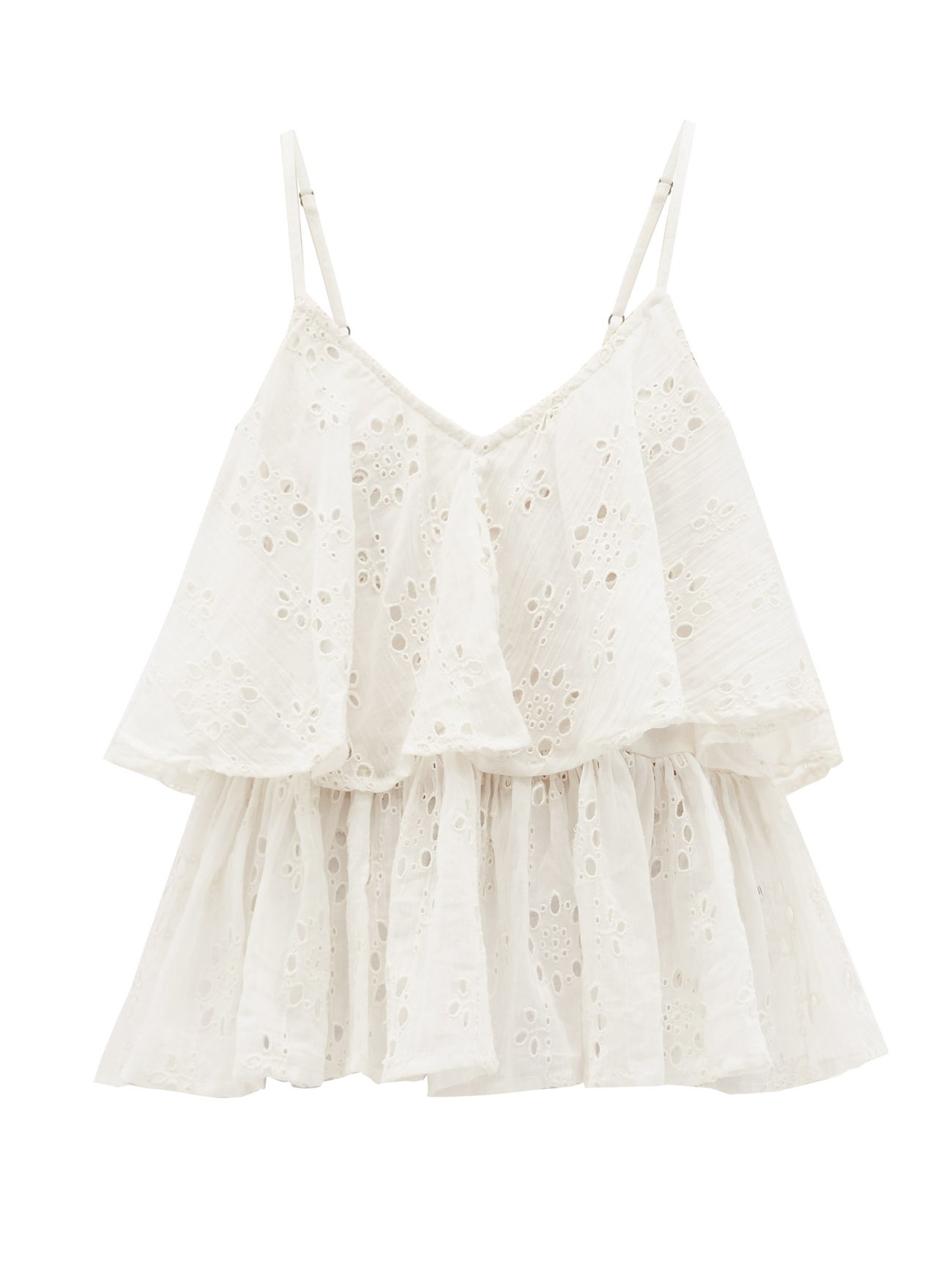 MES DEMOISELLES Beluga ruffled broderie-anglaise cotton cami top $162