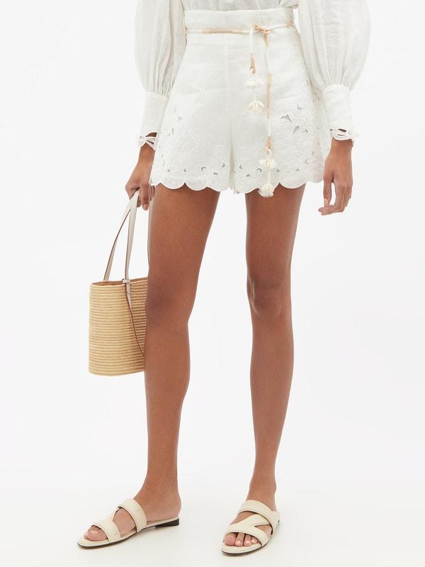 ZIMMERMANN Nina tasselled broderie-anglaise linen shorts $450