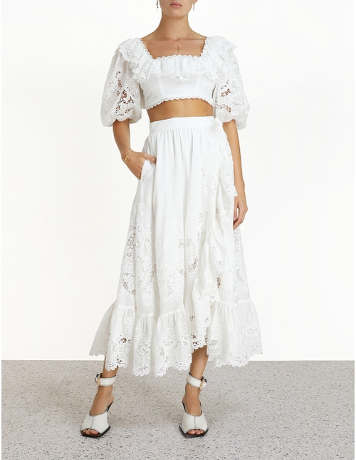 ZIMMERMANN Lulu broderie-anglaise cotton wrap skirt $795
