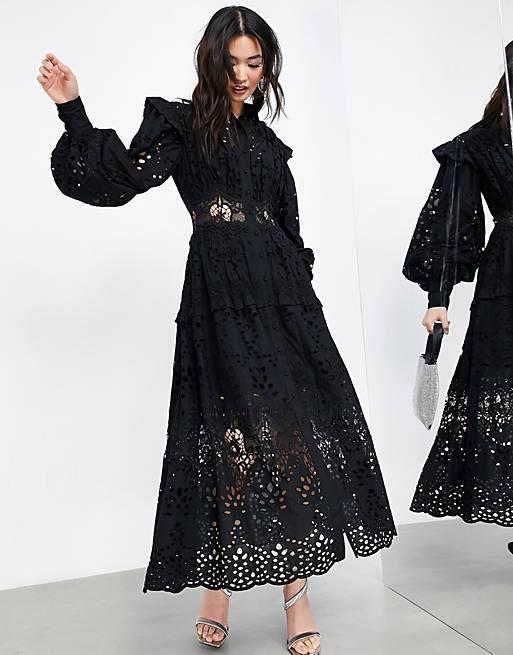 Broderie shirt dress in black $171.00