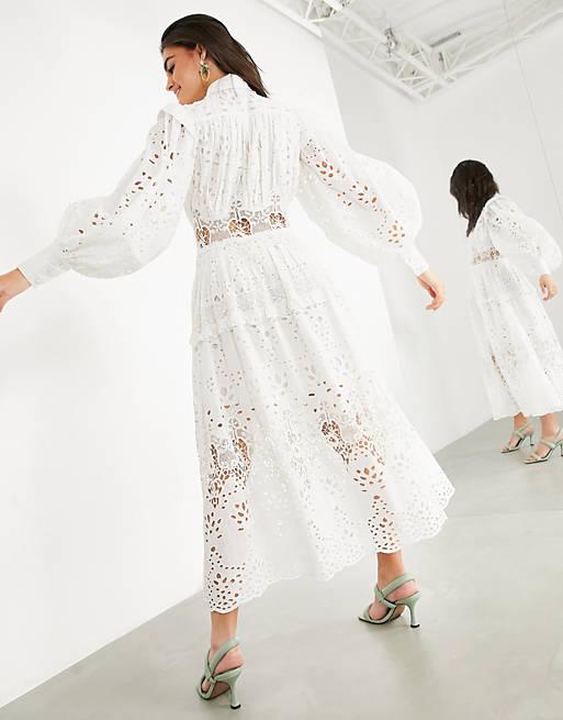 Broderie shirt dress in white $171.00