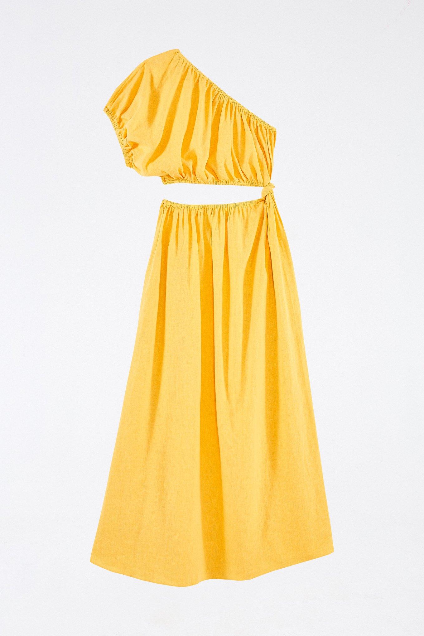 Yellow Open Waist Midi Dress $200