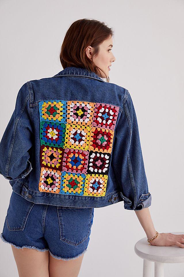 Farm Rio Crochet Denim Trucker Jacket $198.00