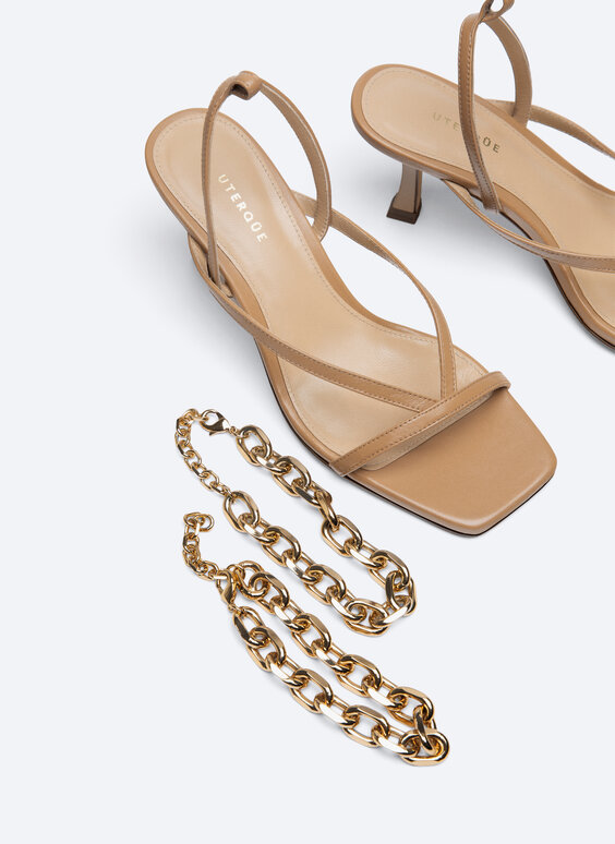 LEATHER HIGH-HEEL SANDALS WITH CHAIN $185.00