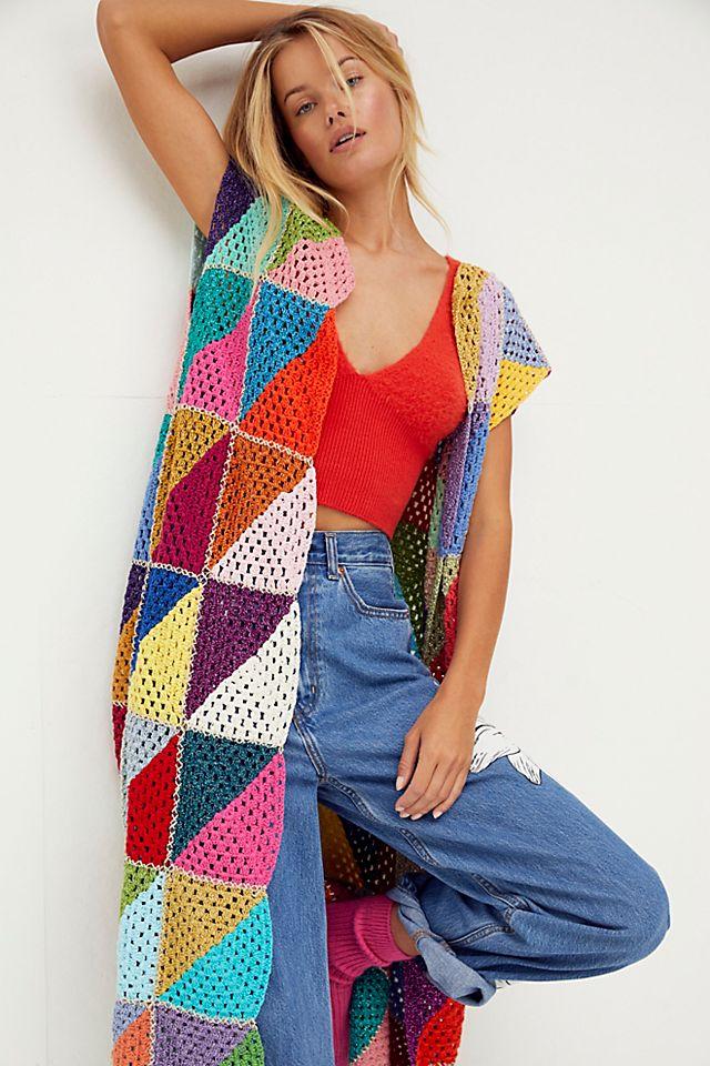 Rose Carmine Crochet Vest $1,190.00