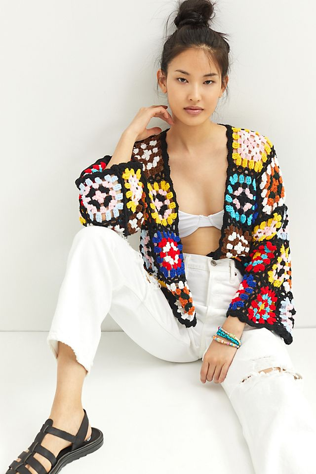 Colorblocked Square Crochet Cardigan $148.00 https://fave.co/35YtoPE