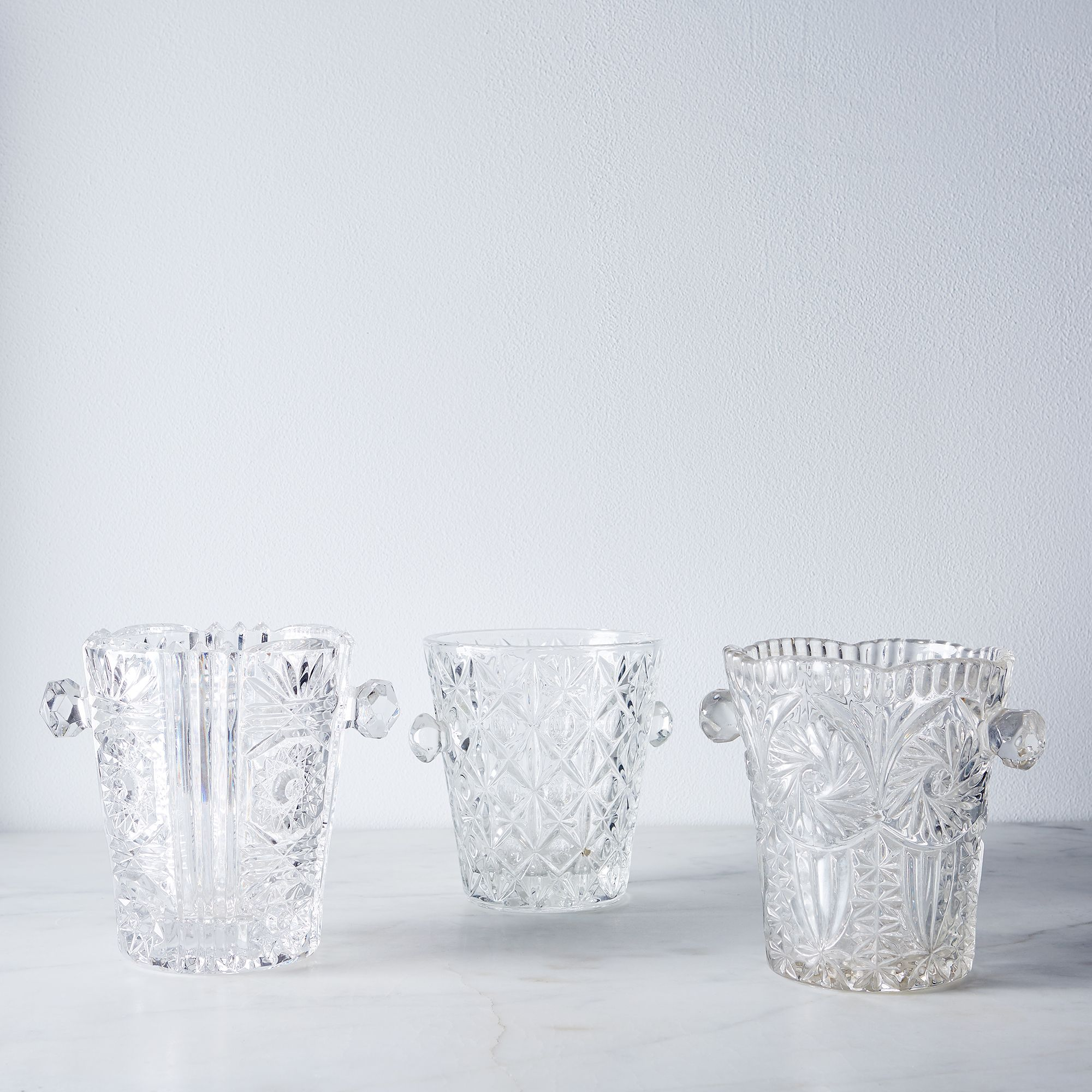 Vintage French Glass Ice Bucket $80
