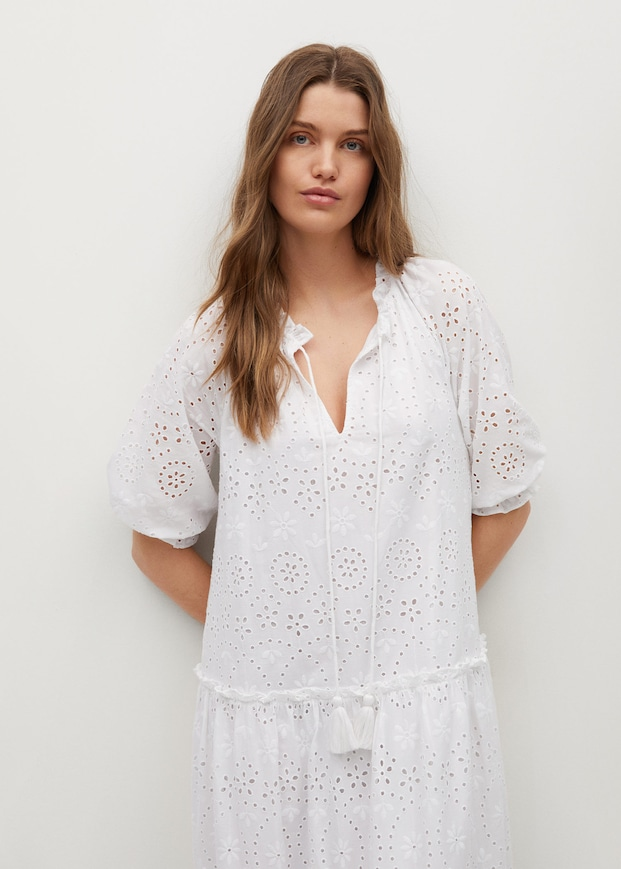 Broderie anglaise cotton dress $69.99