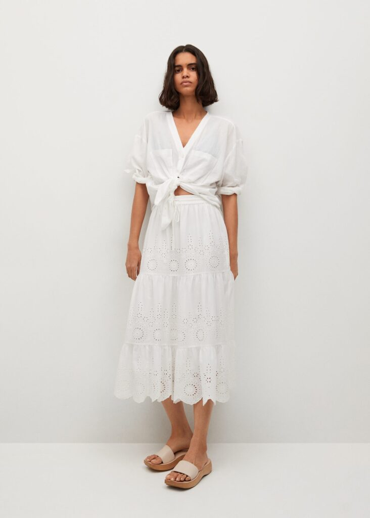 Broderie anglaise cotton skirt $59.99