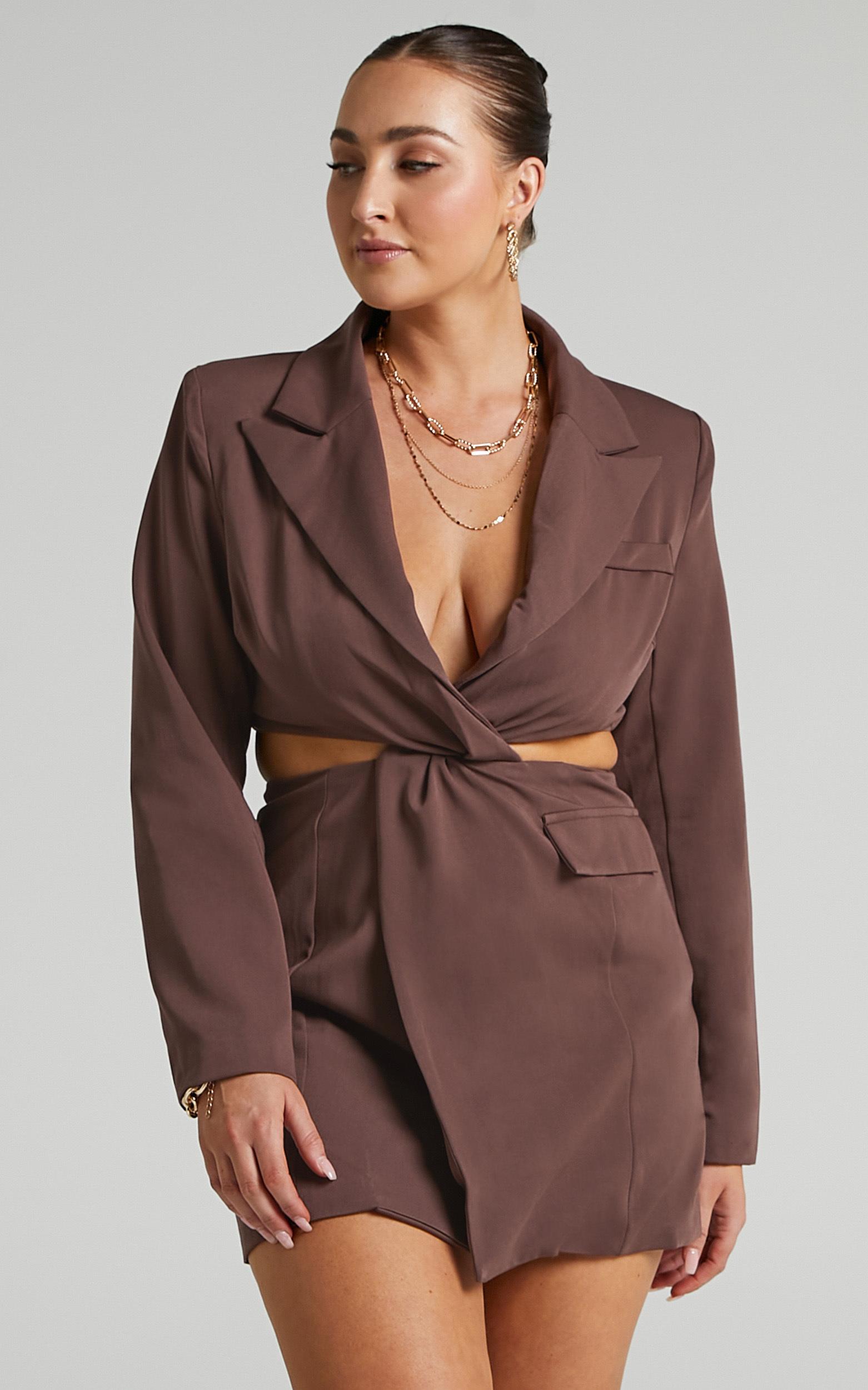 AMINA BLAZER DRESS IN CHOCOLATE $79.95
