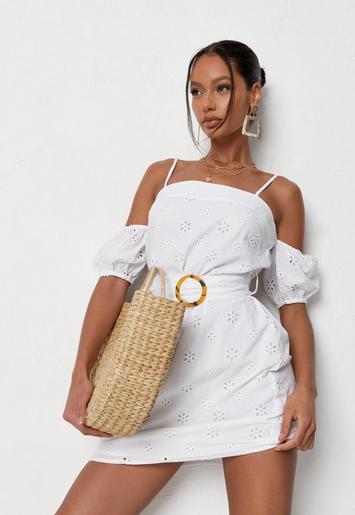 white broderie cold shoulder mini dress $31.00