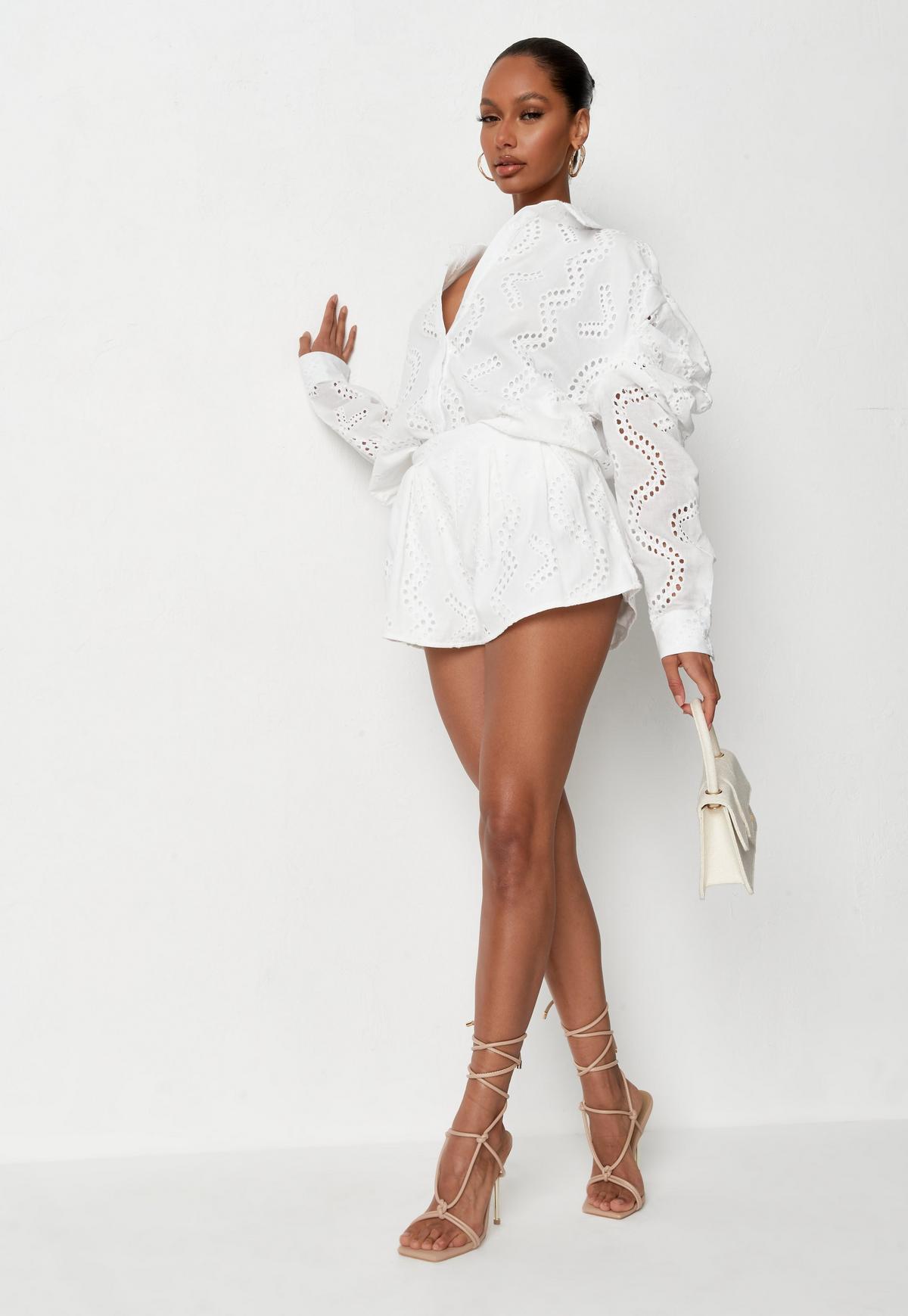white broderie mini shorts $26.00