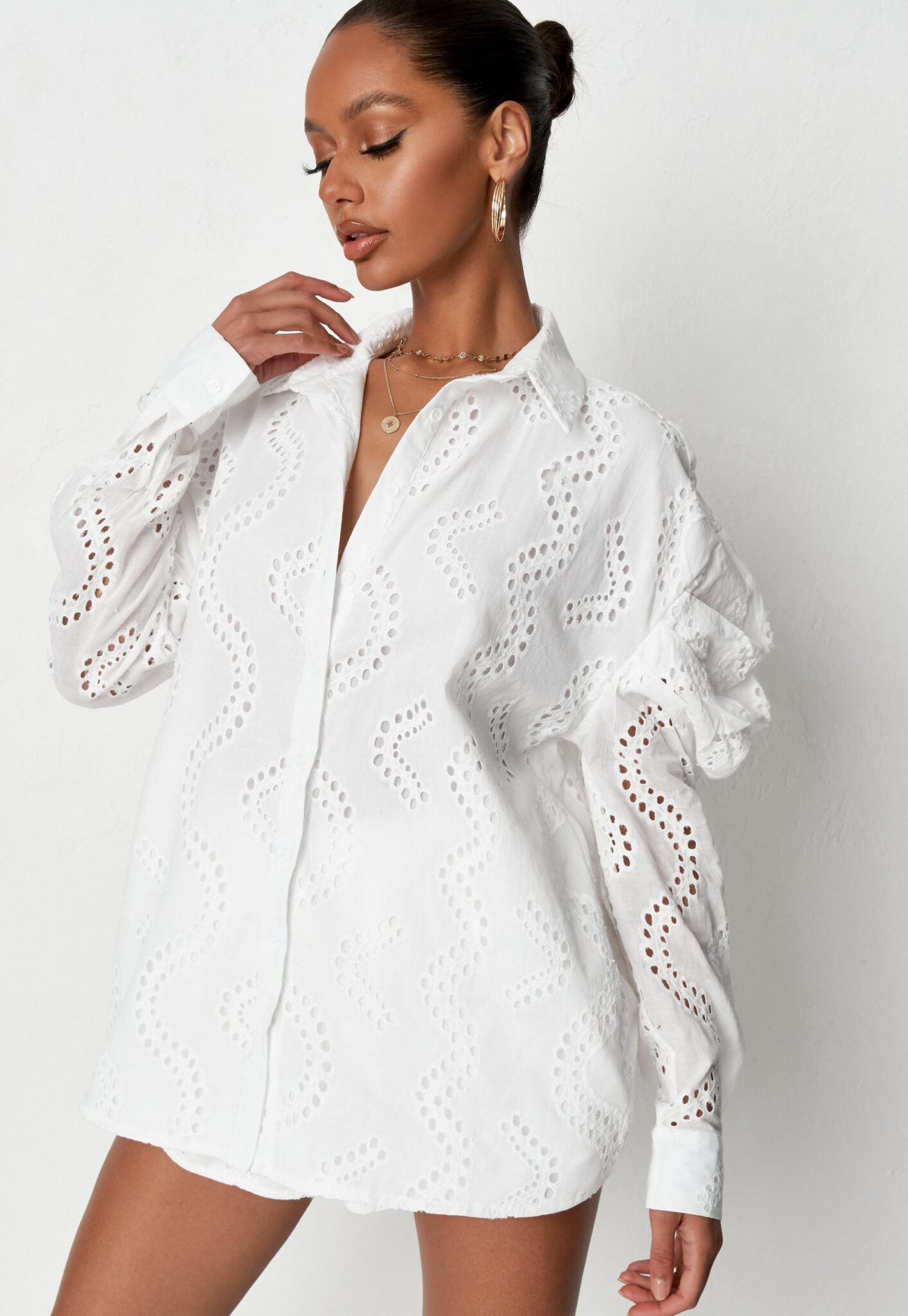 white broderie puff shoulder oversized shirt $39.00