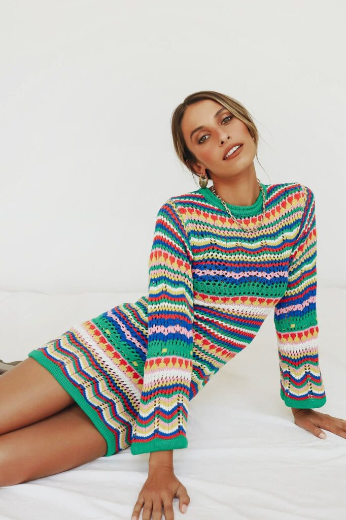 Queen Of Peace Crochet Mini Dress $95.00