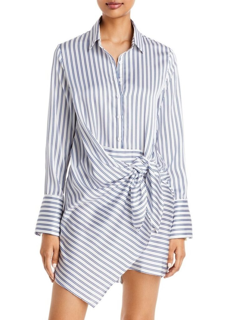 AQUA Tie-Front Long Sleeve Dress $78.00