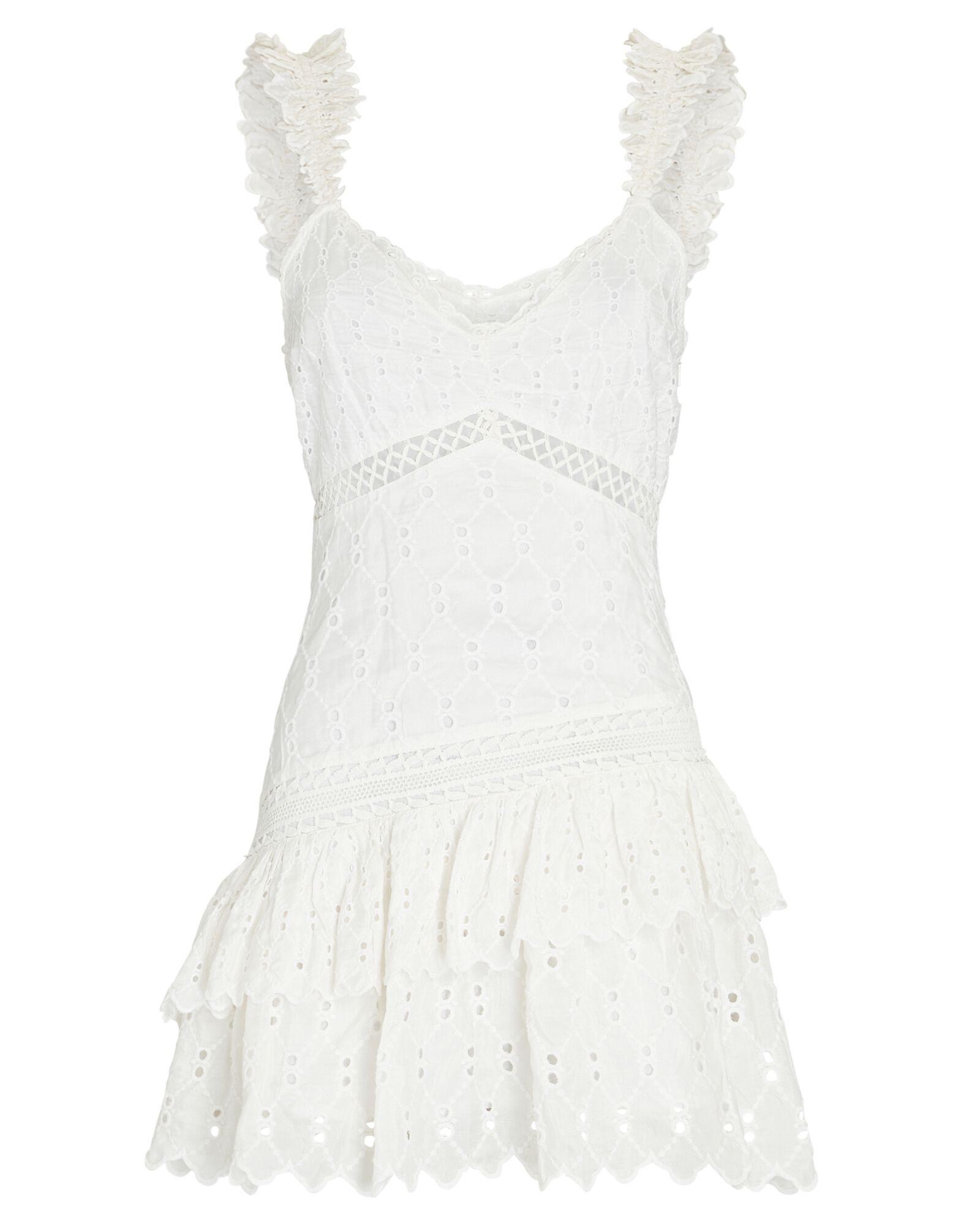 LOVESHACKFANCY Desra Ruffled Silk Eyelet Mini Dress $495