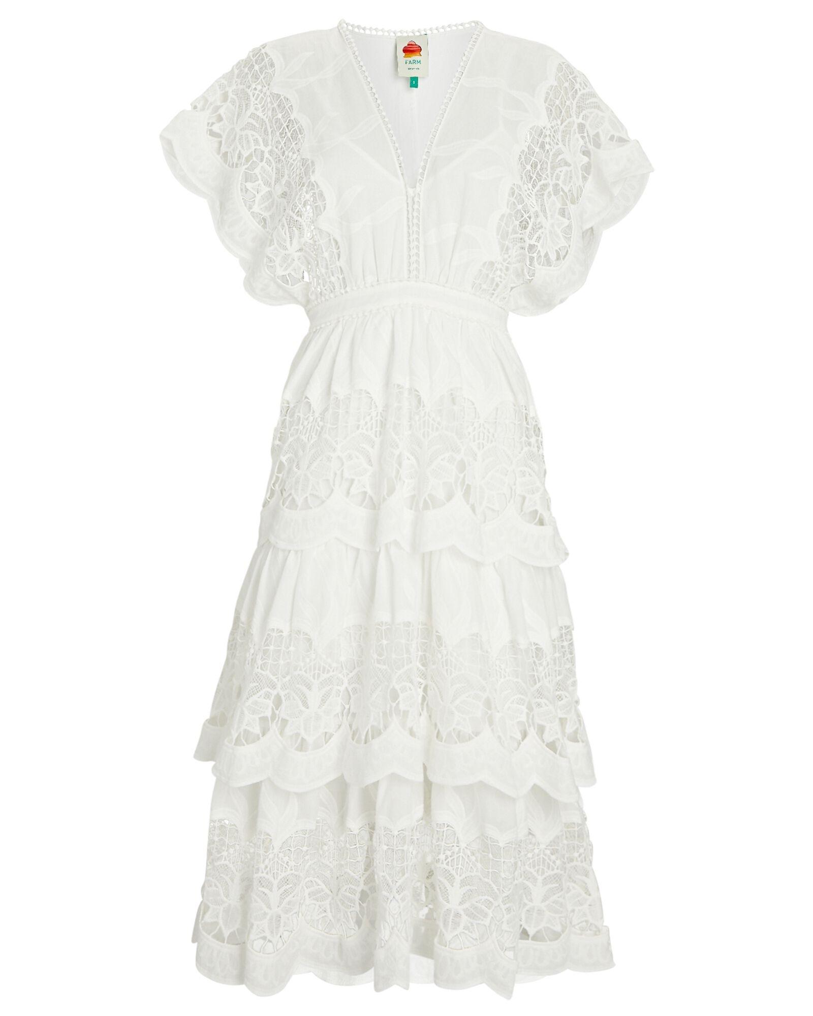 FARM RIO Richelier Tiered Lace Midi Dress $280