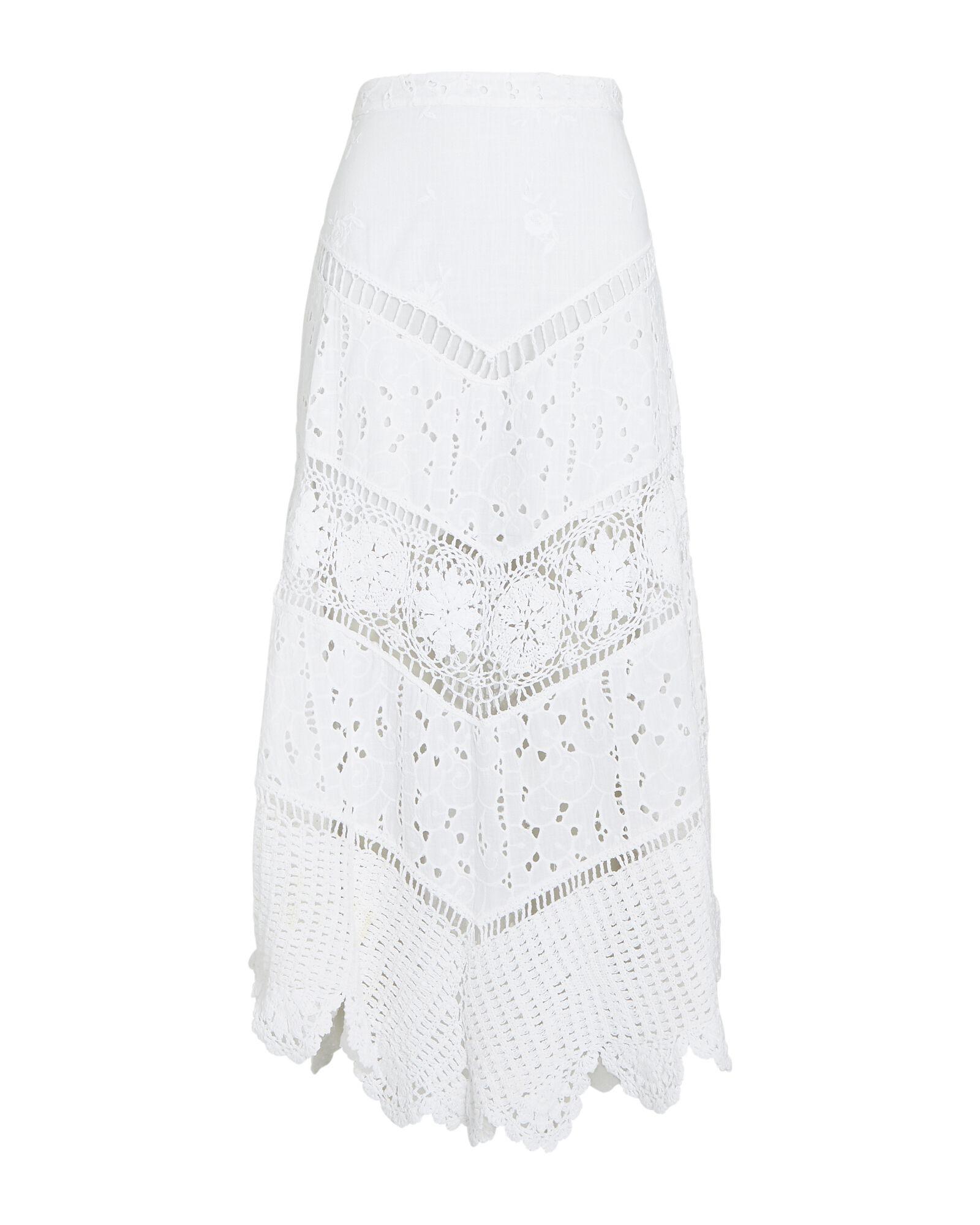 LOVESHACKFANCY Garcelle Cotton Eyelet Midi Skirt $445