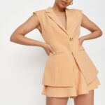 peach tailored longline sleeveless blazer $33.00