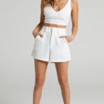 MELBOURNE TWILL TWO PIECE SHORT SET IN WHITE $69.95