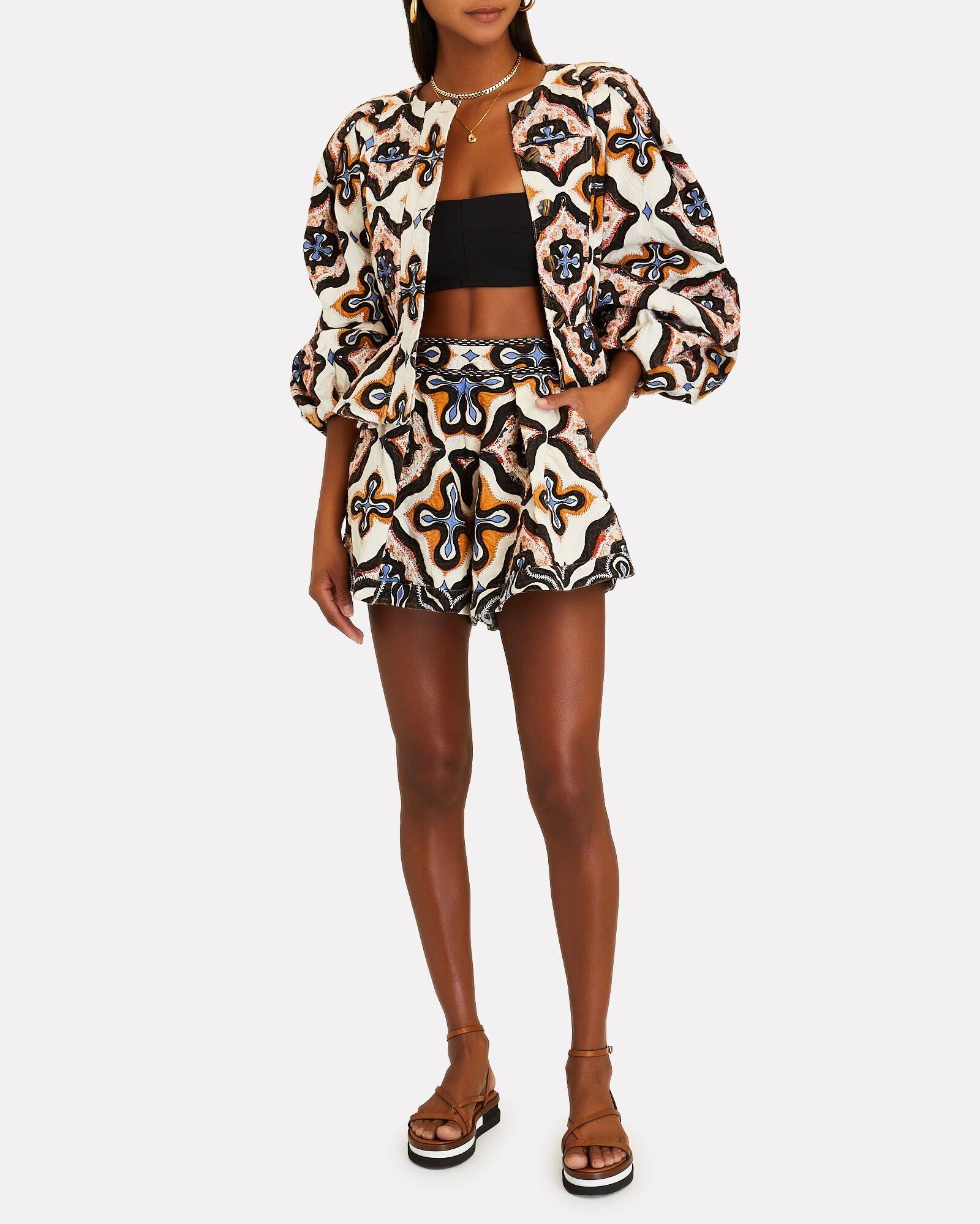 ULLA JOHNSON Tariq Printed Poplin Shorts $425