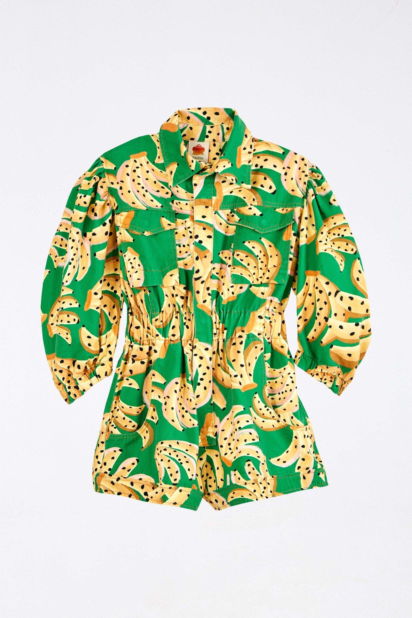 Green Raining Bananas Twill Romper $195