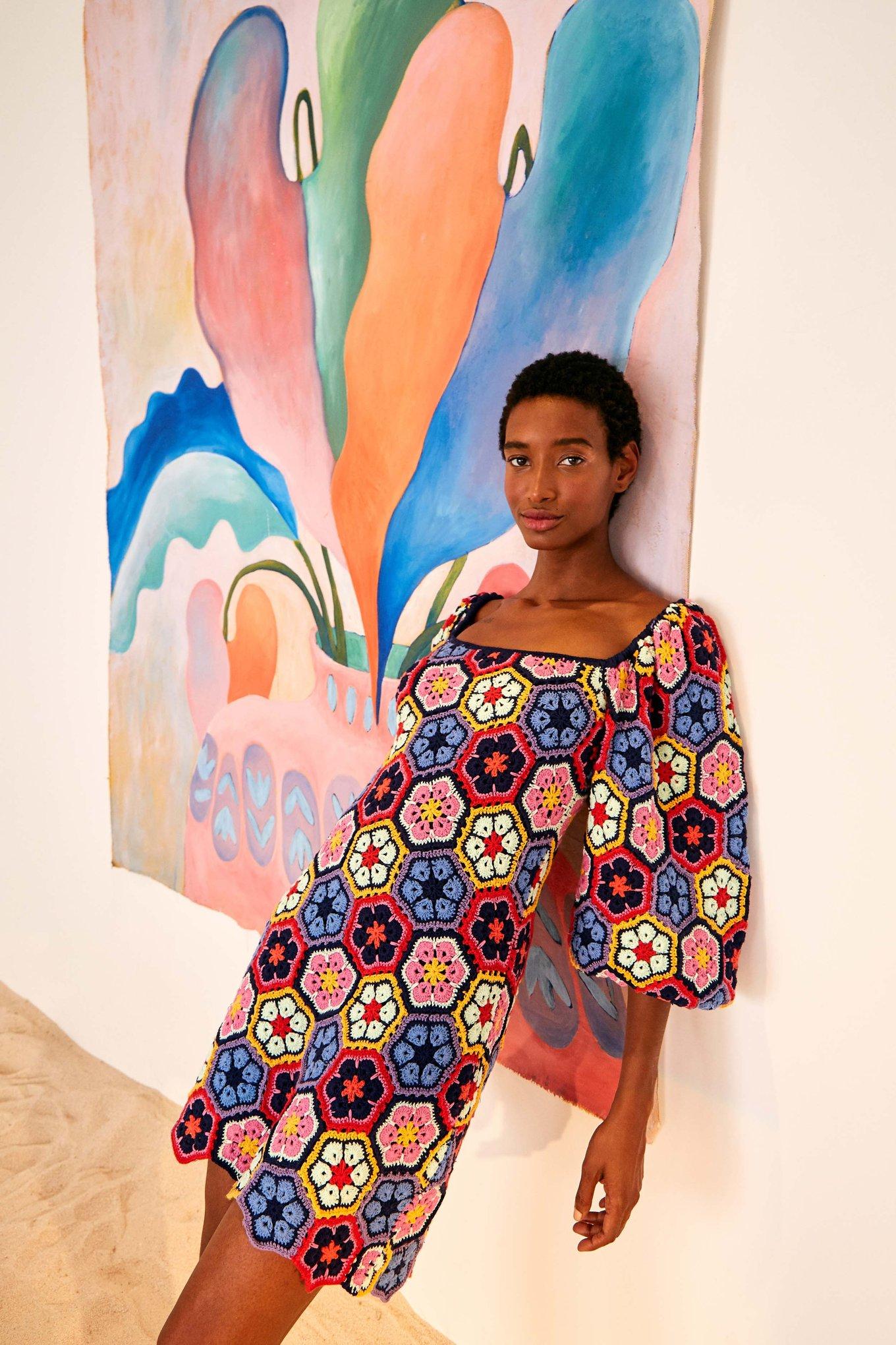 Flower Crochet Mini Dress $295